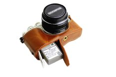 Bottom Opening Version Protective PU Leather Half Camera Case Bag Cover With Tripod Design For Olympus PEN Lite E-PL7 EPL7 Camera With Hand Strap (Brown) (Intl)