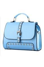 Brief Design Rivet Women Tote Bag Office Lady Handbag Sky Blue