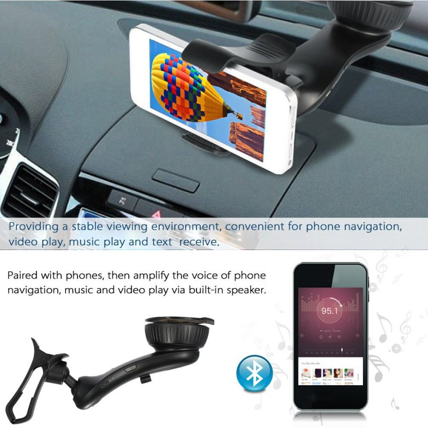 BT8121 Phone Holder Bluetooth 3.0 + EDR Car Holder 360 Degree Rotating Clip Support Music Play USB Charger Hands-free with Microphone and Speaker Black for iPhone 6s 6 Samsung HTC(INTL)