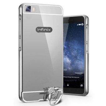 Case for Vivo Y51 Aluminium Bumper With Mirror Backdoor Slide - Silver + Gratis Tempered Glass