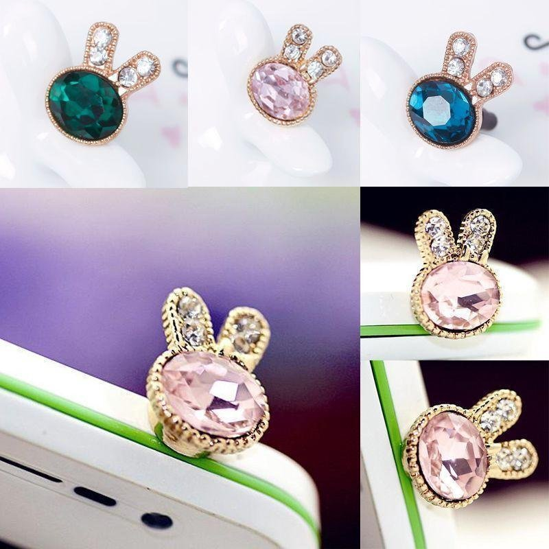 BUYINCOINS Cute Diamond Rubbit Dust Proof Phone Plug Cover Charm For iPhone Smart Phone Blue