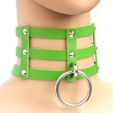 BUYINCOINS New Fashion Punk Goth Rivets Choker Three Row Caged Leather Ring Collar Necklace Green - Intl