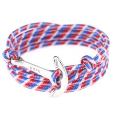 BUYINCOINS New Women Men Multilayer Leather Handmade Wristband Rope Anchor Bangle Bracelet White + Red + Blue (White Anchor) - Intl