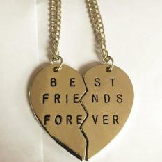 Buytra Elegant 2Pieces Broken Heart Pendant Necklace Chic Best Friends Forever Necklace (Gold) - Intl