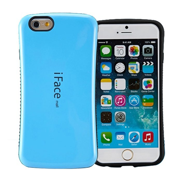 Candy Color Korea Style Shock Absorbing iFace case TPU+PC Hard Case Silicone Cover for iphone 6/6s Azure (Intl)