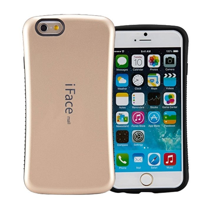 Candy Color Korea Style Shock Absorbing iFace case TPU+PC Hard Case Silicone Cover for iphone 6/6s golden (Intl)