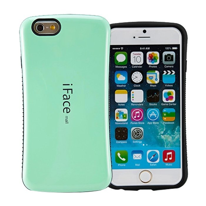 Candy Color Korea Style Shock Absorbing iFace case TPU+PC Hard Case Silicone Cover for iphone 6 plus/6s plus Mint Green (Intl)