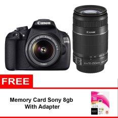 Canon EOS 1200D Double Kit 18-55mm IS II + 55-250mm IS II - 18 MP - Hitam + Memory Sony 8 GB