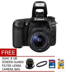 Canon EOS 80D DSLR Camera Kit 18-55mm Lens + Gratis Tas + Memory + Screen Guard + Filter