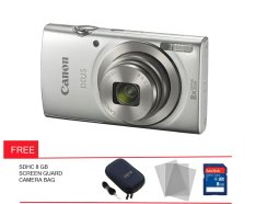 Canon Powershot IXUS 175 - 20 MP - Silver + Gratis Screen Guard + Memory + Tas Kamera