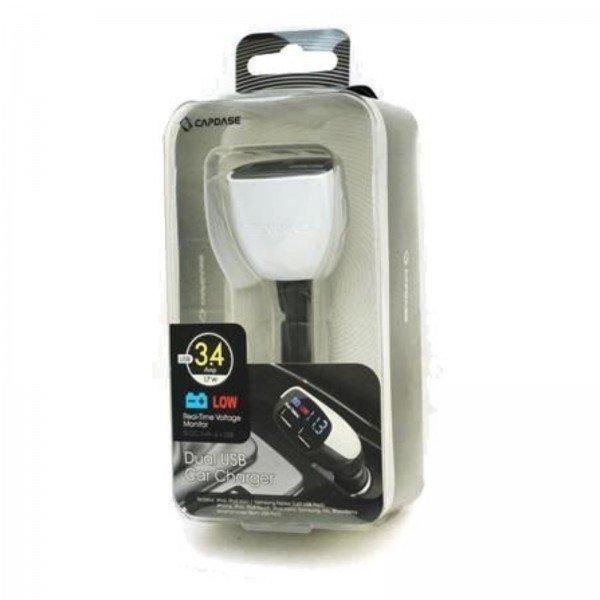 Capdase Dual USB Car Charger Monitor T2 - 3.4 Amp - Hitam/Putih