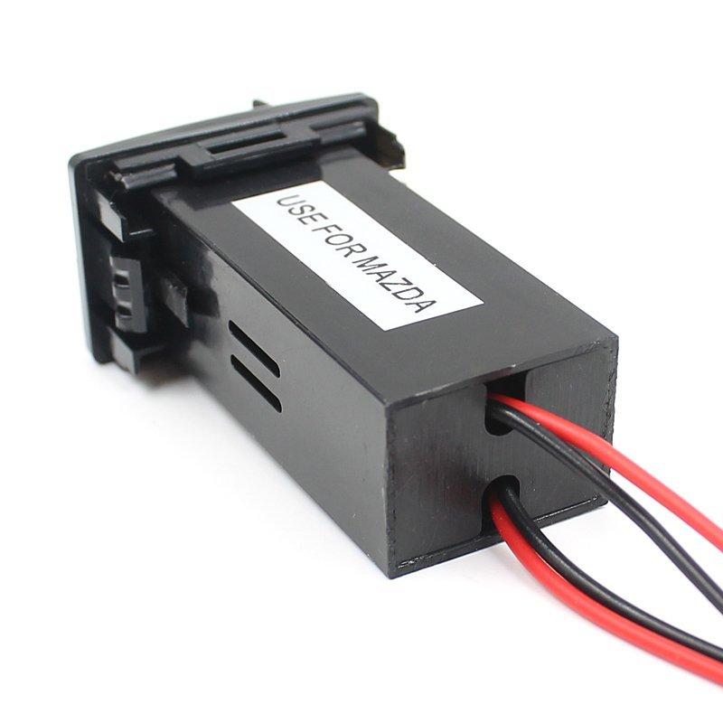 Car 12V To 5V 2.1A Dual USB Port Dashboard Mount Phone Charger For MAZDA Black