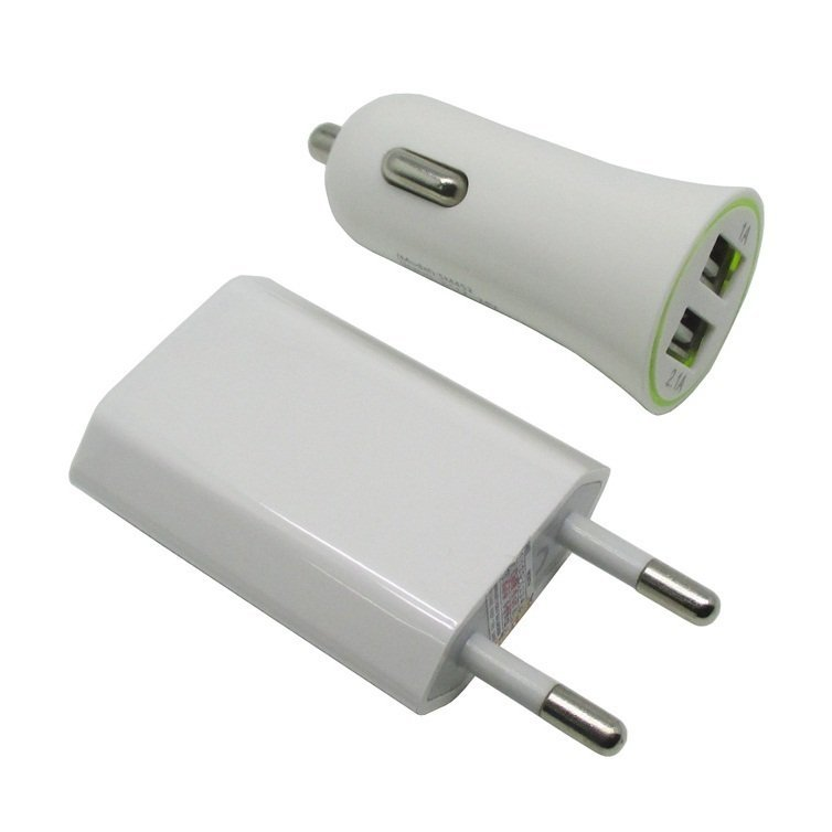 Car Charger 3 in 1 Charger Travel Kit for iPhone 4 & 4S, iPhone 3GS/3G, iPod Touch - Putih