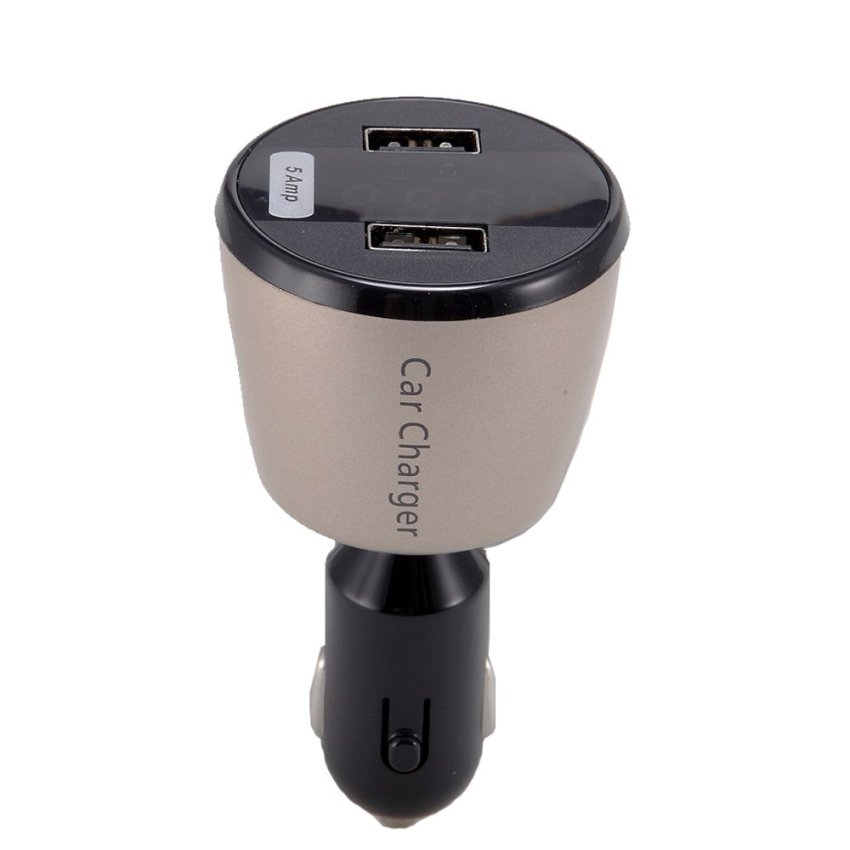 Car Charger with Voltage Monitor & Dual Slot USB - Gold