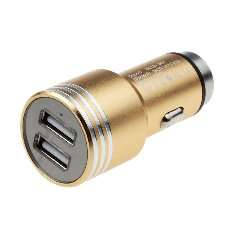 Car Safety Hammer 12V 24V USB Charger Adapter For iPhone Cellphone GPS (Gold)