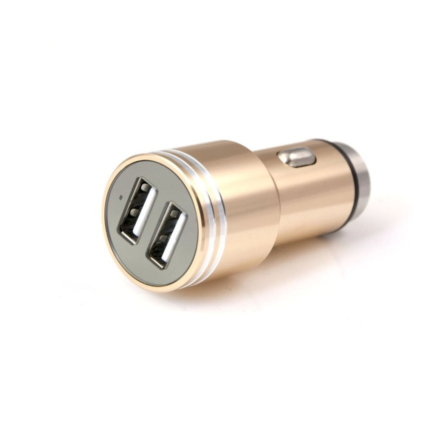 Car Safety Hammer Aluminum Dual 12V 24V USB Multi-functional Car Charger (Rose Gold)(INTL)