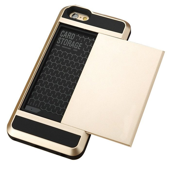 Card Slider with Card Storage Cover Case for Apple iphone 5 golden (Intl)
