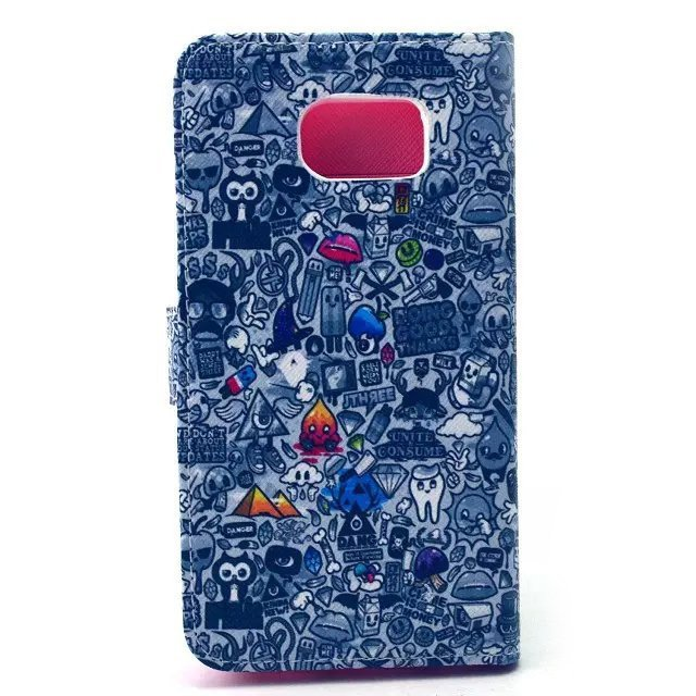 Cartoon Design Flip Cover PU Leather Case for Samsung S6 (Multicolor)
