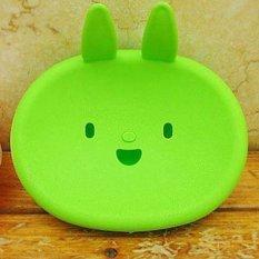 Cartoon Smiling Rabbit Face Shaped Plastic Bathroom Soap Box Case Dish Holder 5 Pcs / Set (Green) (Intl)