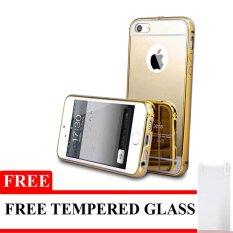 Case Aluminium Bumper Mirror for Iphone 6 - Gold + Free Tempered Glass d3e48fbc55
