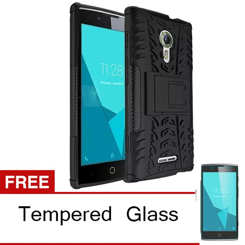 Case for Alcatel Flash 2 Rugged Armor With Kickstand - Hitam + Gratis Tempered Glass