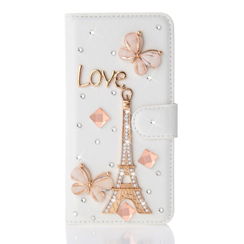 Case for Alcatel One Touch Idol 2 S OT6050Y 3D Bling Shiny Diamond PU Leather Flip Stand Case - Eiffel Tower (Intl)