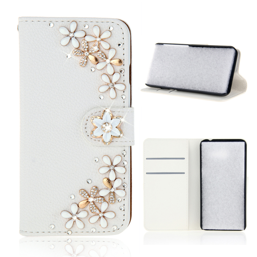 Case for Alcatel One Touch Pop S7 OT7045 White 3D Bling Diamonds PU Leather Flip Case Cover - Flowers (Intl)
