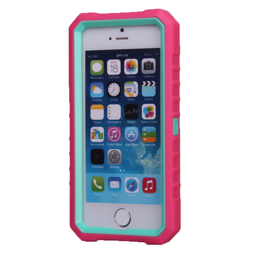 Case for Apple iPhone 5 5S Shock Absorption Combo Protective Case Cover - Hot Pink + Sky Blue (Intl)