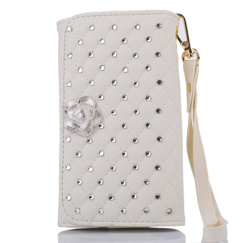 Case for Apple iPhone Samsung Huawei Sony Asus Wiko and Others Universal Bling Purse Wallet Wristlet Flip Case Cover - White (Intl)