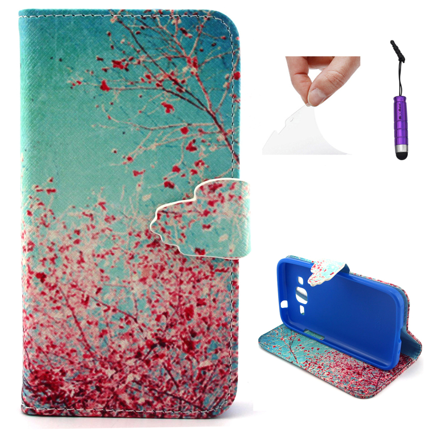 Case for Samsung Galaxy Core Prime G360 PU Leather Case Flip Stand Cover - Plum Blossom (Intl)