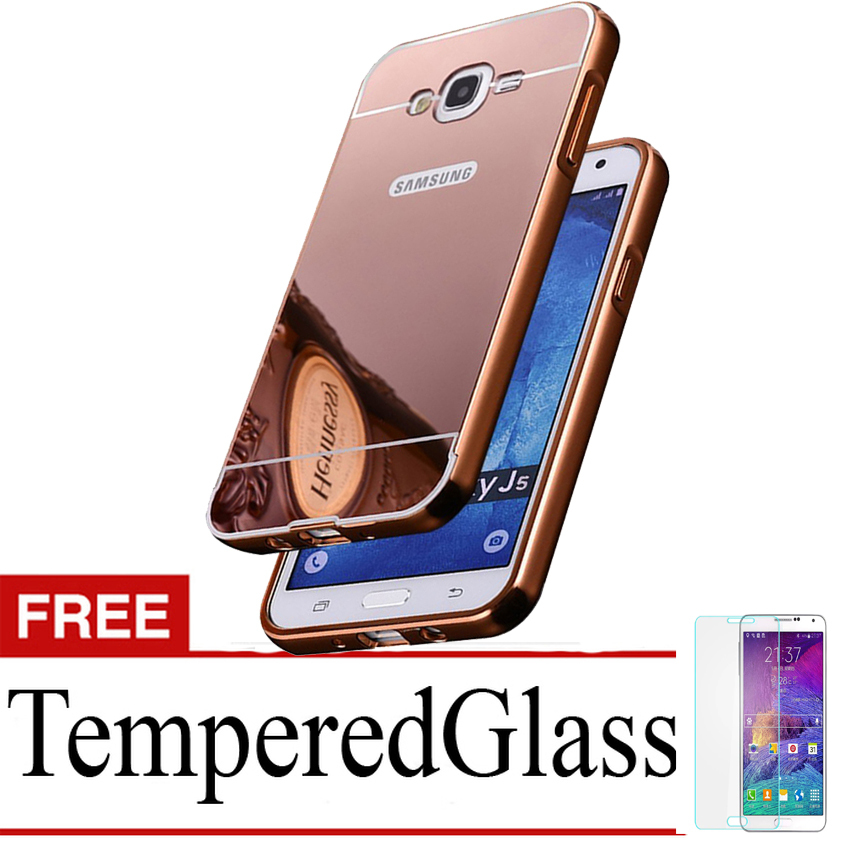 Case for Samsung Galaxy Grand Prime - G530 - Alumunium Bumper With Mirror Backdoor Slide - Rose Gold + Gratis Tempered Glass