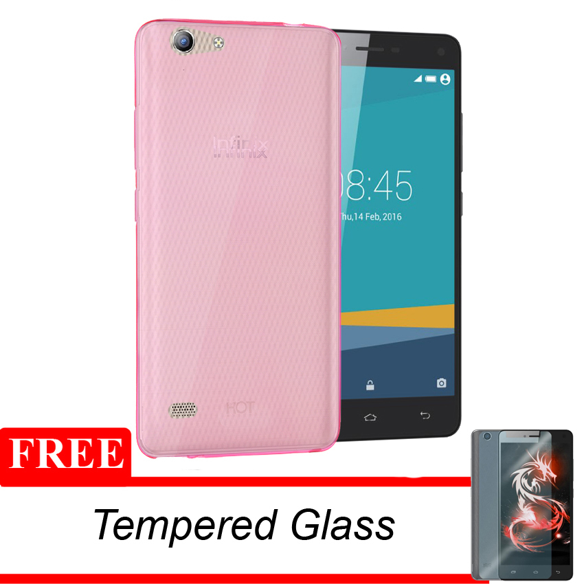 Case Infinix Hot 3 X553 Ultrathin Aircase - Pink Clear + Gratis Tempered Glass