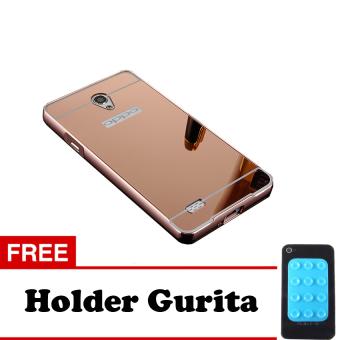 Case Oppo Joy 3 Bumper Mirror Slide Rose Gold Holder Gurita .