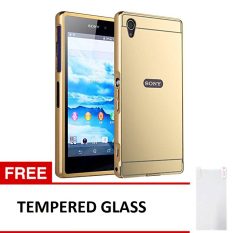 Case Sony Xperia Z1 Alumunium Bumper With Mirror Backdoor Slide - Emas + Gratis Tempered Glass
