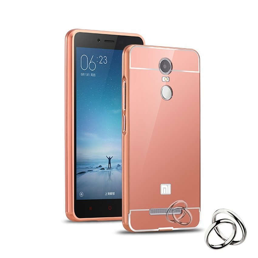 Case Untuk Xiaomi Redmi Note 3 Pro Bumper Metal Back Case Sliding - Rose Gold
