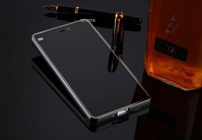 Case Xiaomi Redmi 3 Aluminium Bumper Mirror + Gratis Ultrathin - Hitam