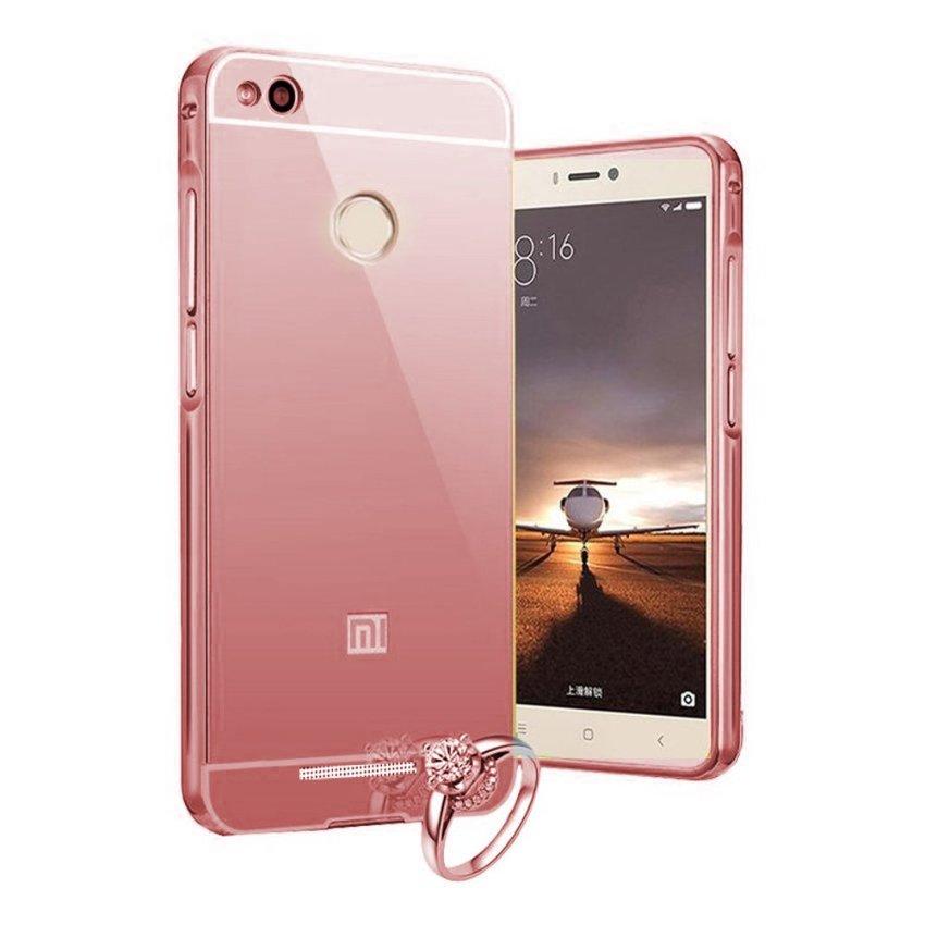 Case Xiaomi Redmi 3 PRO Alumunium Bumper With Mirror Backdoor Slide- Rose Gold
