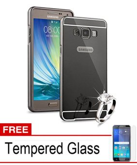 Casing Metal Bumper Mirror for Samsung Galaxy E5 - Black + Free Tempered Glass