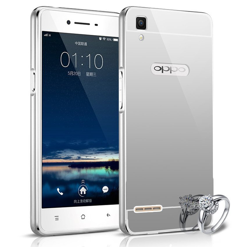 Casing Mirror Aluminium Bumper With Sliding Casing For Oppo F1 Selfie Expert - Silver + Gratis Tempered Glass