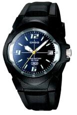 Casio Analog Date Display MW600F-2AVDF - Jam Tangan Pria - Tali Resin - Hitam Plat Biru