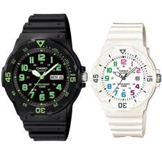 Casio Couple Watch Jam Tangan Couple - Hitam Putih - Strap Karet - Sporty Couple -MRW200H-3B