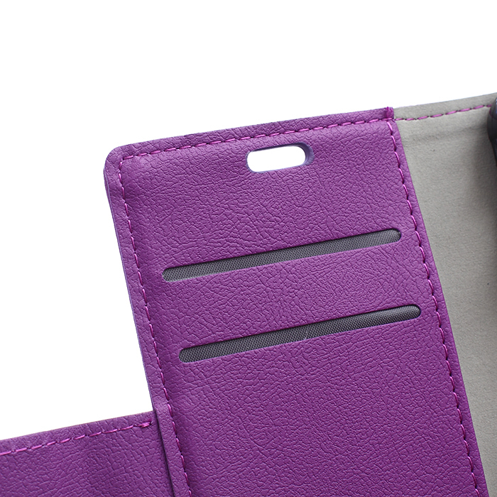 Cass Leather Flip Case With Card Slot for Vodafone First 6 (Purple) (Intl)