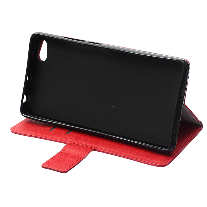 Cass Leather Flip Case With Card Slot For ZTE Nubia Z9 Max Red Color (Intl)