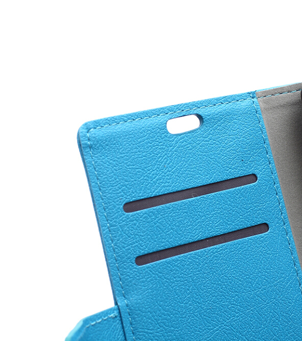 Cass Leather Flip Case With Card Slot For ZTE V5 LUX Blue Color (Intl)