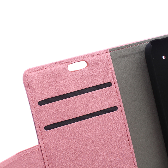 Cass Leather Flip Cover with Card Slot for HTC One Me (Pink) (Intl)