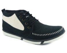 Cassico Ca 408 Sepatu High Cut Sneaker Pria - Leather - Tpr Outsole - Keren Dan Modis - Hitam Kombinasi