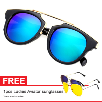 Cat Eye Retro Free Aviator Sunglasses-Kacamata Wanita - Black - CHF 008 GRN