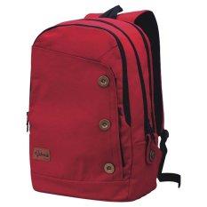 Catenzo Tas Ransel Canvas Laptop - Merah + Gratis Rain Cover