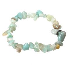 Charm Gemstone Bead Crystal Millefiori Glass Quartz Chip Stretch Bangle Bracelet Amazonite - INTL