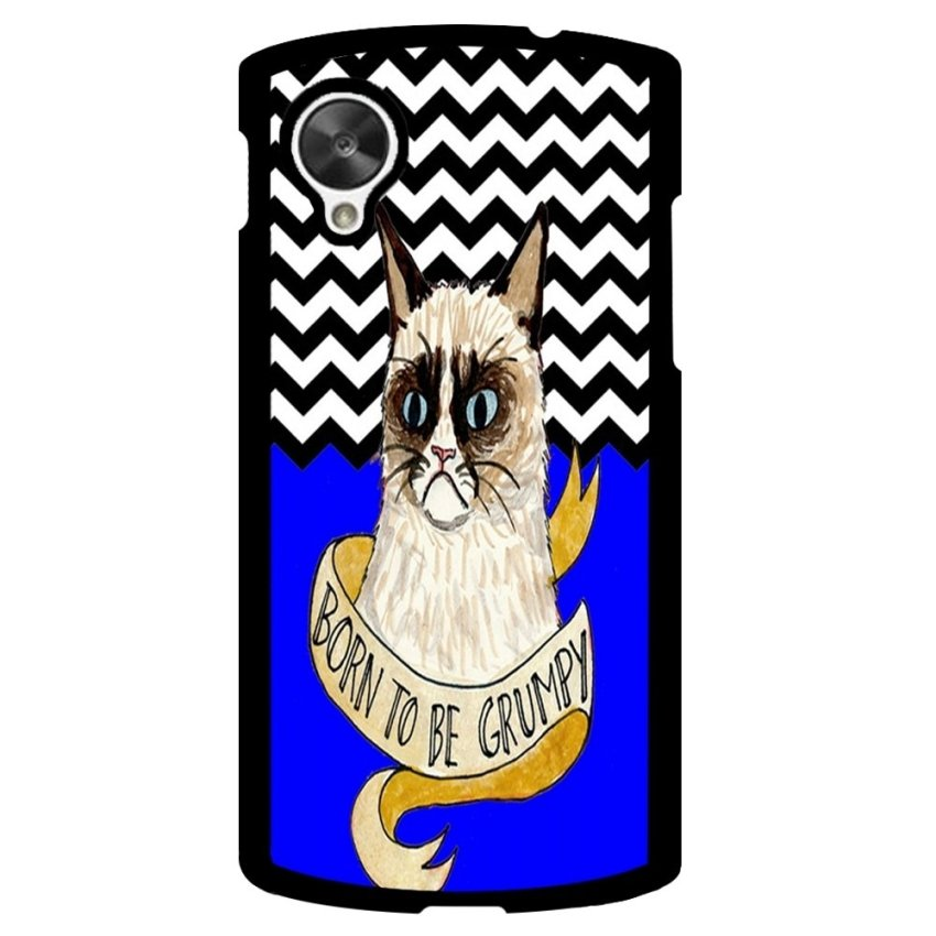 Chevron Grumpy Cat Pattern Phone Case for LG Nexus 5 (Multicolor)